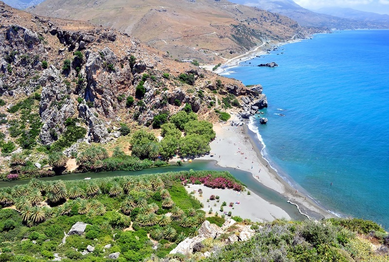 View-of-the-exotic-Preveli-Beach-in-Southern-Crete
